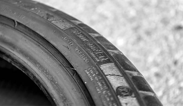 upclose of the sidewall on a run flat tire